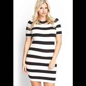 Forever 21 plus striped bodycon dress NWT 1x